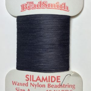 Silamide Waxed Bead Thread, Dark Blue